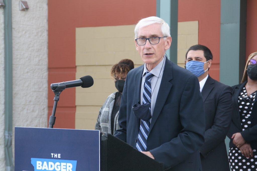 Governor Tony Evers speaks at a violence prevention press conference at the COA Goldin Center. Photo by Jeramey Jannene.
