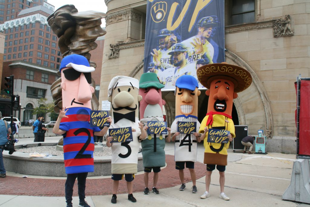 The Milwaukee Brewers Racing Sausages. Photo by Jeramey Jannene.