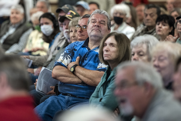 Constituents listen to Sen. Ron Johnson as he answers questions Friday, Oct. 8, 2021, at Boulder Junction Town Hall in Boulder Junction, Wis. Angela Major/WPR