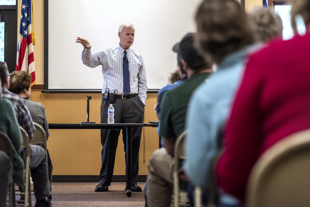 Sen. Ron Johnson speaks to constituents during a town hall Friday, Oct. 8, 2021, at Boulder Junction Town Hall in Boulder Junction, Wis. Angela Major/WPR