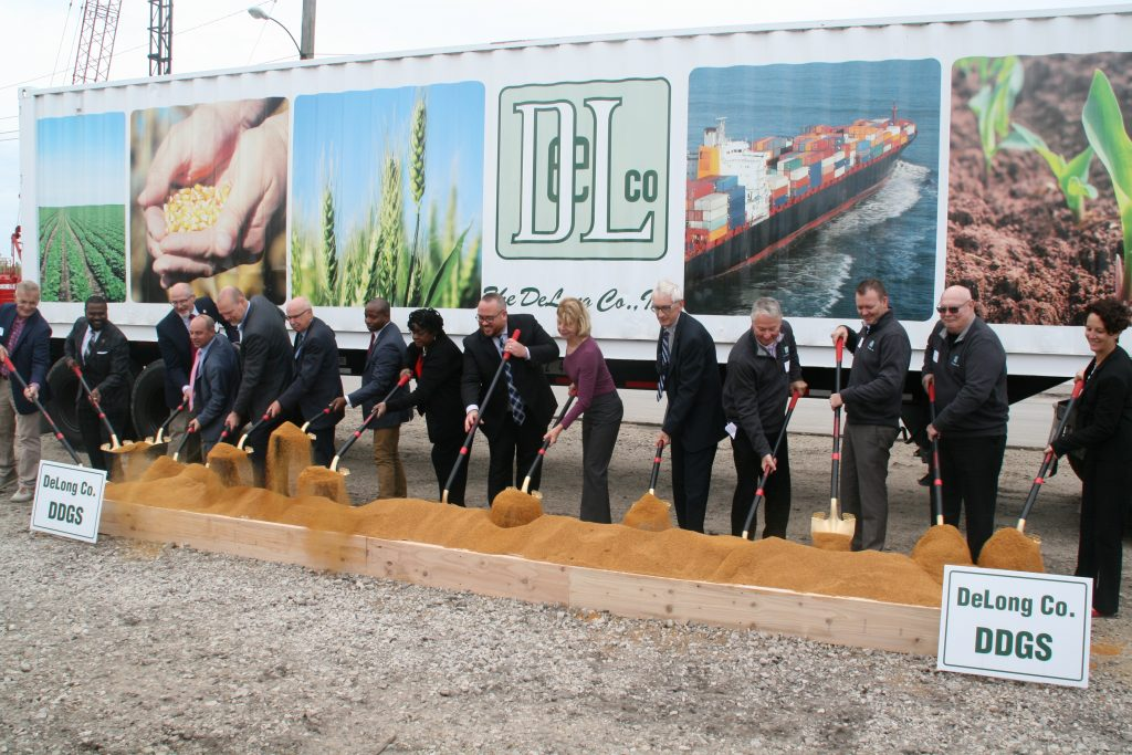 DeLong officials joined by politicians and city representatives break ground on a new agricultural export facility. Photo by Jeramey Jannene.