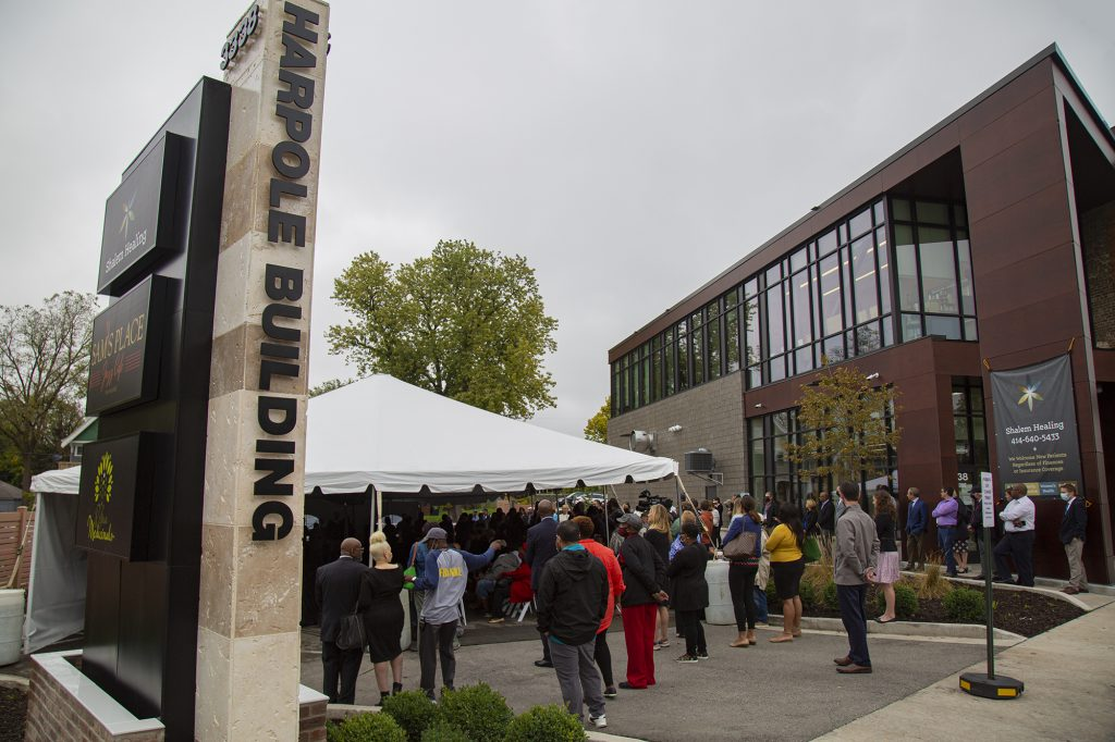 Harpole Building and sign during grand opening and name reveal celebration. Photo courtesy of Bader Philanthropies.
