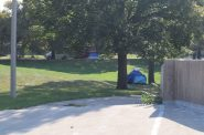 Clusters of tents can be found in King Park, though the number varies depending on the day. Photo by Isiah Holmes/Wisconsin Examiner.