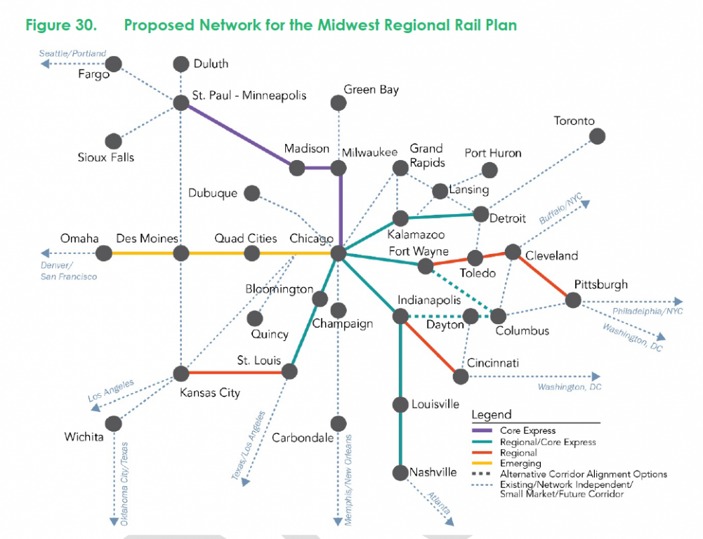 Midwest Regional Rail Plan. Map courtesy of the High Speed Rail Alliance.