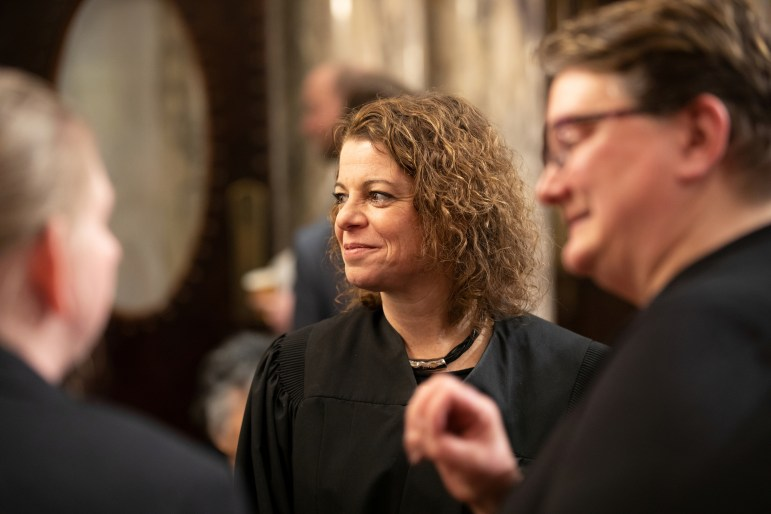 """Wisconsin Supreme Court Justice Rebecca Dallet has been sounding the alarm about the deep racial disparities in the state's criminal justice system throughout her time in office. """"Unfortunately Wisconsin has been at the top of the list of incarcerated people of color — specifically, African American — for years now,"""" Dallet says. She is seen at the State Capitol on Jan. 22, 2019. Emily Hamer / Wisconsin Watch"""