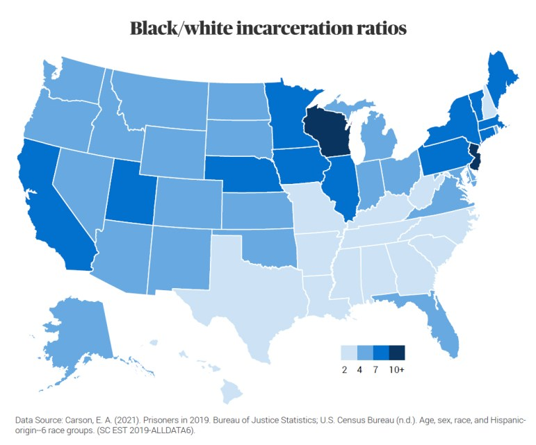 Wisconsin incarcerates Black people at nearly 12 times the rate of white people, according to a new report by The Sentencing Project. The analysis found that one out of every 36 Black adults in Wisconsin is incarcerated. Courtesy of The Sentencing Project