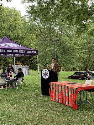 Oneida Business Committee Council Member Kirby Metoxen speaks at an Indigenous Peoples' Day Ceremony at the Norbert Hill Center on Monday, Oct. 11, 2021. Megan Hart/WPR
