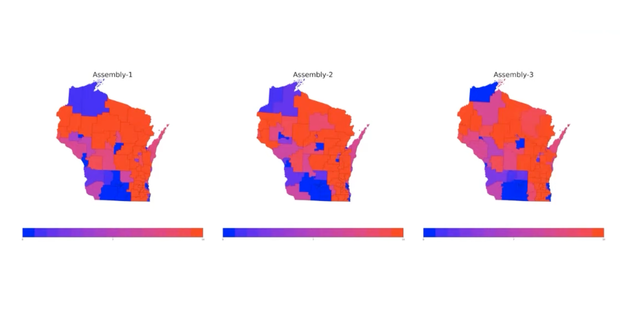 A screenshot from a virtual public hearing held by the People's Maps Commission showing potential partisan outcomes in proposed state Assembly districts.